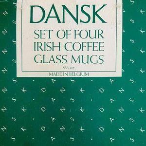 Dansk set of 4 Irish Glass Mugs in Box 8.5 Ounce!